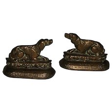 "Vintage ""Retriever Dog"" Brass Bookends"