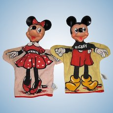 Walt Disney Mickey and Minnie Mouse Hand Puppets by Gund