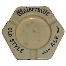 HTF Walkerville Old Style Ale Union Made Enamel Ashtray