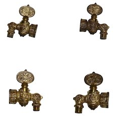 4 Matching Vintage Brass Gas Lamp Valve with 2 Adjusters