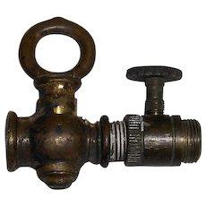 Vintage Brass Gas Lamp Valve with  Adjuster