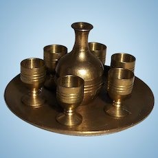 Brass Decanter, Cups and Tray Miniature Drinks Set