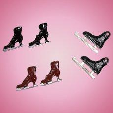 Three Pairs of Miniature Skates for Dollhouse or Diorama