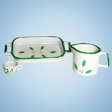 Miniature Enamelware Christmas Tray and Pitcher