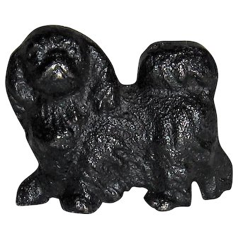 Miniature Black Metal Dog for Dollhouse