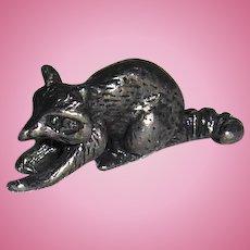 Miniature Pewter Raccoon Figurine
