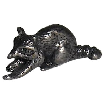 Miniature Pewter Raccoon Figurine