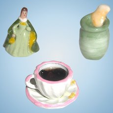 Vase, Figurine, & Cup of Tea Miniature Dollhouse Accessories