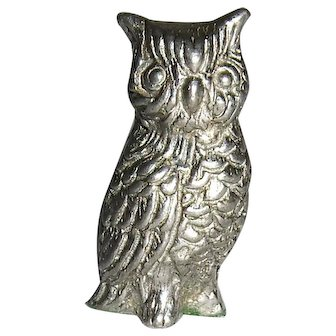 Silvery Owl Miniature Dollhouse Sized Figurine