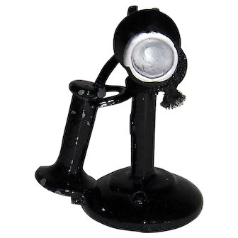 Dollhouse Candlestick Phone Black Painted Metal