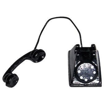 Miniature Metal Table or Desk-top Rotary Dial Telephone