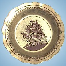 Metal Miniature Dollhouse Decor Plate with Ship