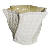 """Irish Belleek """"Limpet-Yellow"""" Vase or Planter"""