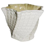 "Irish Belleek ""Limpet-Yellow"" Vase or Planter"