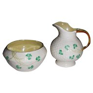 Irish Belleek Shamrock Ware Cream and Sugar