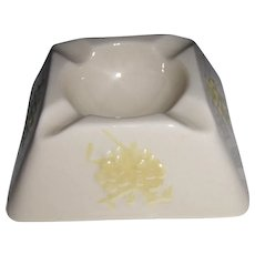 Belleek Ireland Vintage Square Ashtray Yellow Flowers