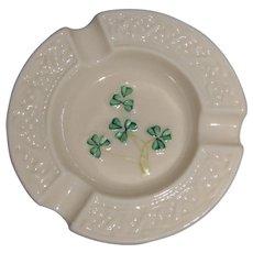 Irish Belleek Vintage Shamrock Round Ashtray
