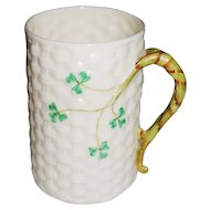 Vintage Irish Belleek Mug or Cup 6th Mark in Green