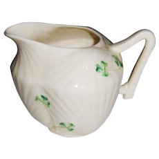 Irish Belleek 'Harp'  Shamrock Patterned Creamer