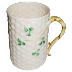 Belleek Ireland Basket Weave and Shamrock Cup or Mug 7th Mark