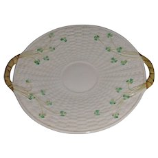 Basket Weave Shamrock Open Handled Cake Plate Belleek Ireland