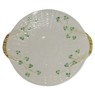 Irish Belleek Closed Handle Cake Plate Basket Weave and Shamrock