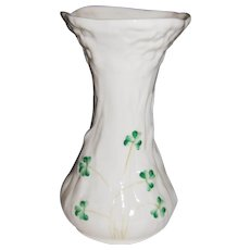"Belleek Ireland Shamrock and Daisy 6"" Vase"