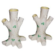 Irish Belleek Three Branch Tree Trunk Vase with Shamrocks 5th Mark