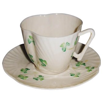 3 Irish Belleek Harp and Shamrock Cup and Saucer Sets 7th Mark