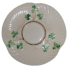 Harp and Shamrock Saucer Belleek Ireland 3rd Black Mark