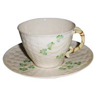 Shamrock on Basket Weave Cup and Saucer Belleek Ireland