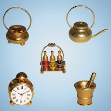 5 Brass Coloured Dollhouse Accessories