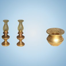 Miniature Hurricane Lamps and Spittoon for Dollhouse