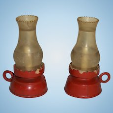 Pair of Larger Scale Miniature Plastic Lamps for Dollhouse