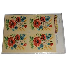 Vintage Canada Decal 'decorators' Bouquet of Flowers MIP