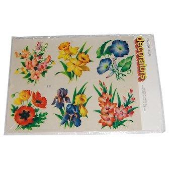 Vintage Canada Decal 'decorators' Variety of Flowers MIP