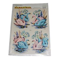 Vintage Canada Decal 'decorators' Pink and Blue Swans  MIP
