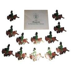 Vintage Dennison's St. Patrick's Day Leprechaun on Horse Foil Gummed Seals