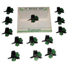 Vintage Dennison's St. Patrick's Day Leprechaun Hat with Shamrocks Foil Gummed Seals