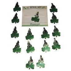 Vintage Dennison's St. Patrick's Ladies and Men on Shamrocks Foil Gummed Seals