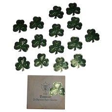 Vintage Dennison's St. Patrick's Day Shamrocks Foil Gummed Seals