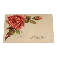 A Happy Easter 1910 Post Card with Red Roses