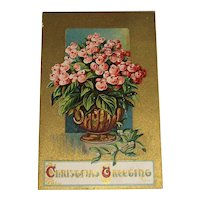 """""""Christmas Greetings"""" post Marked 1915 Embossed Post Card 'Not Roses'"""