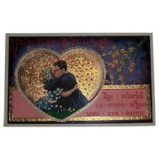 Valentine Post Card  Lacy Gold Heart with Couple Kissing