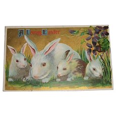 """ A Loving Easter"" Post Card 4 Bunnies and Flowers"
