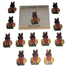Vintage Dennison's Easter Gummed Foil Seals Bunny Egg Paint Pail