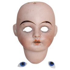 Bisque Doll Head with Blue Glass Eyes 178