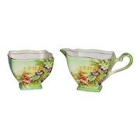 Royal Winton Grimwades Deco Style Floral Cream and Sugar Set