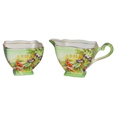 Royal Winton Grimwades Deco Style Floral Cream and Sugar Set