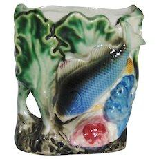 Feeding Fish Wall Pocket Vase Hand Decorated Shafford